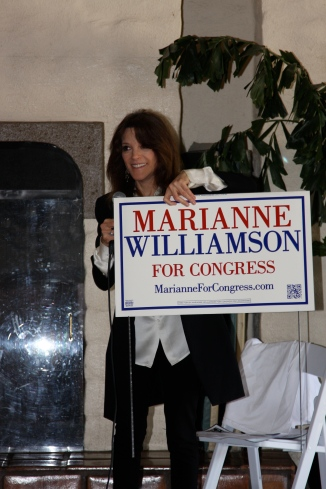 Marianne and her lawn sign